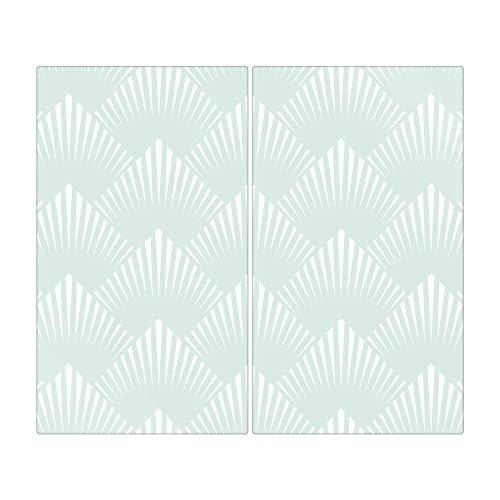banjado Herdabdeckplatte aus Glas   Herdabdeckung zweiteilig je 30x52cm   Spritzschutz für Ceranfeld oder Induktionsherd   Schneidebrett perfekt für die Küche mit Motiv Strahlen Mint
