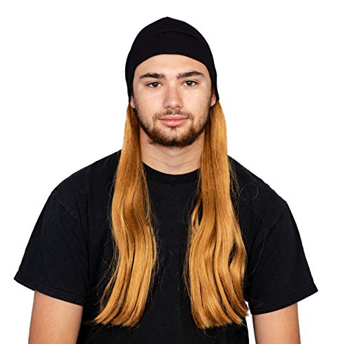 Adult Halloween Costume Accessory Deluxe Blonde Wig and Beanie Hat