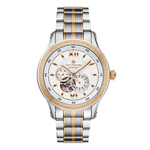 René Mouris Klassischer Stil 44mm Herren Automatikuhr   Corona   Dual-tonte Edelstahl-Uhrenband in Silber und Rose Gold Farbe