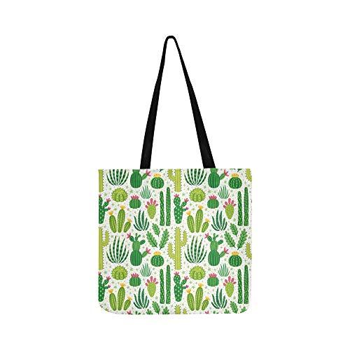 Vektor nahtlose Muster verschiedene Kaktus helle Leinwand Tote Handtasche Schultertasche Crossbody Taschen Geldbörsen für Männer und Frauen Einkaufstasche