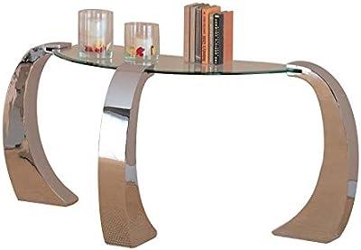 Coaster Fine Furniture 720059 Custer, Consola Contemporánea, Base de Metal/Superficie de Vidrio
