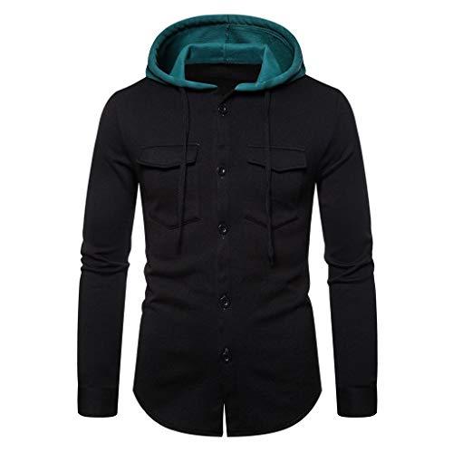 Exteriores de los hombres con botón de abajo de la sudadera de invierno de manga larga con capucha impresa Outwear Tops Blusa, Negro, 3X-Large