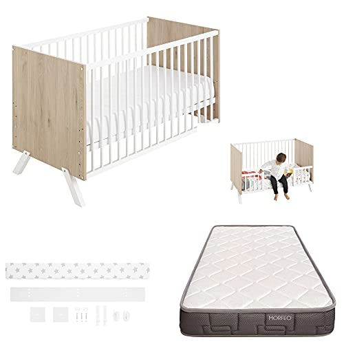 COOL · DREAMS - Cuna colecho Shira 120x60 + kit colecho + colchón HR + barandillas para convertir la cuna en cama