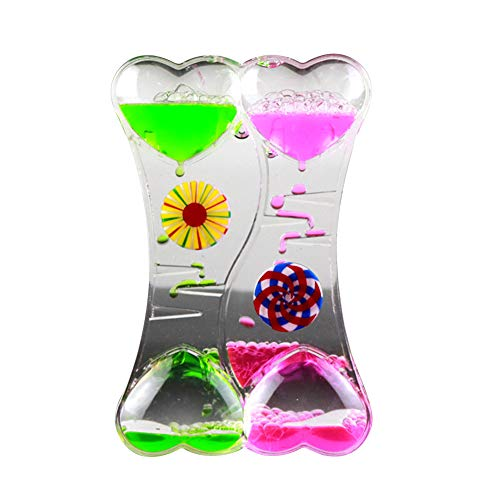 junshi11 Oil Hourglass Timer Clock Double Heart Relaxing Liquid Motion Bubble Drip Calming Toy for Kids,Best Sensory Toy Kids Gift Green Pink