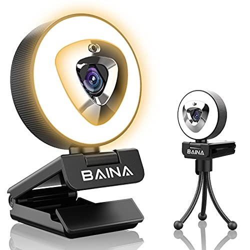 1080p Webcam with Microphone for Desktop - BAINA Streaming Webcam with Privacy Cover, Ring Light, Tripod, Plug & Play USB Web Camera for Laptop PC Mac Zoom Meeting Skype YouTube - 2021 New Version