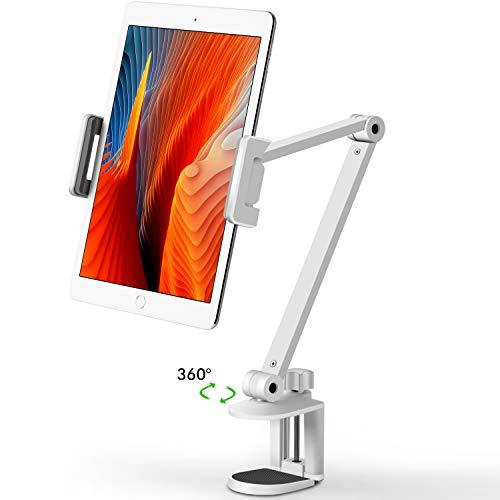 Viozonタブレット スタンド ホルダー マウント、360°回転可能、高さと角度の調整可能、ハイグレードアルミニウム合金アーム、4.5-13インチの携帯電話とタブレット、iPhone、iPadに適用(AP-7LCW)