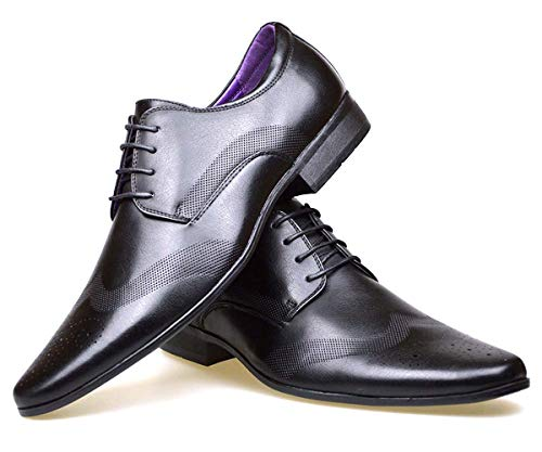 S & B Footwear Mens Leather Lined Smart Wedding Lace Up Brogues Formal Dress Oxford Shoes Size 6-12 (10 UK, Black 2)