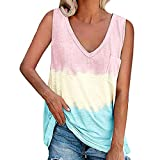 Camisetas sin Mangas para Mujer Camisas de Verano Chaleco Sexy Blusa de Hombro en Bloque Cami Tank Casual Correas de Color Camiseta sin Mangas Chaleco Verano Casuales de Bloque de Color Camisetas