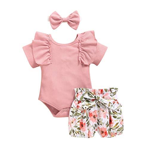 Neugeborenes Baby Mädchen solide Rüschen Strampler + Floral Print Shorts + Stirnband Outfit