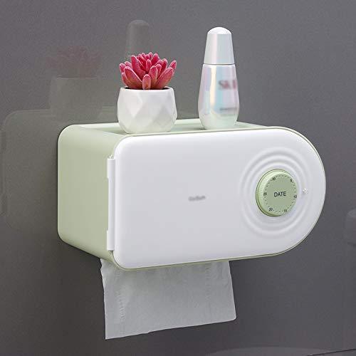 Caja para pañuelos Caja de dispensador de tejido multifuncional de plástico rectangular de plástico rectangular con interruptor semiautomático puede registrar la fecha del período menstrual soporte pa