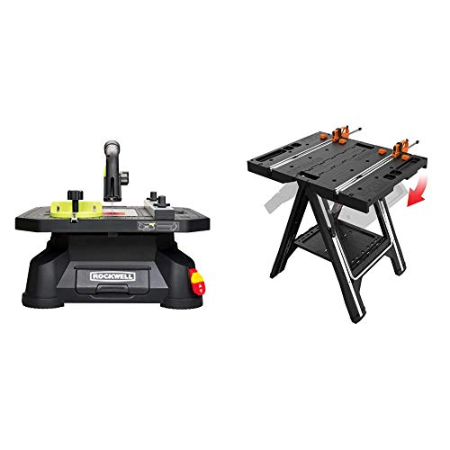 Rockwell BladeRunner X2 Portable Tabletop Saw, RK7323 & WORX Pegasus Multi-Function Work Table and Sawhorse with Quick Clamps and Holding Pegs – WX051