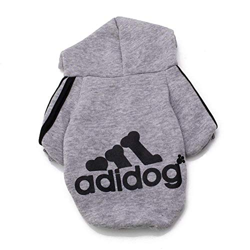 Rdc Pet Adidog Dog Hoodies, Apparel, Fleece Basic Hoodie Sweater, Cotton Jacket Sweat Shirt Coat for Small Dog & Medium Dog & Cat (Grey,L)