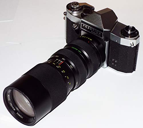 analoge SLR Kamera PRAKTICA super TL Objektiv ITOREX Macro Zoom 1:3.5 f= 80-200mm Ø 62mm - Kamera löst aus -
