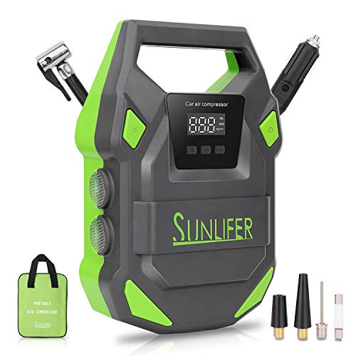 SUNLIFER Car Tire Inflator, Portable Air Compressor Pump, 12V Auto Tire Pump with Upgraded Bright LED Light, Digital Pressure Gauge and Carry Handle for Car, Motorcycle, Bike and Others