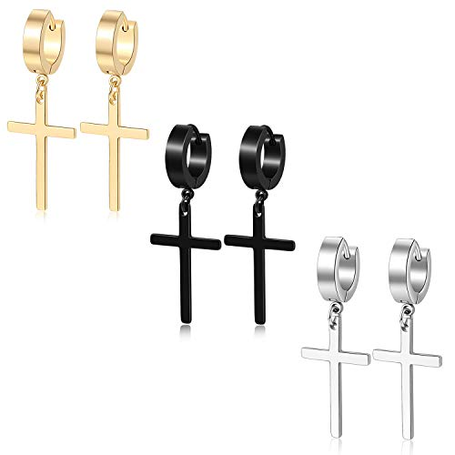 TXPFF 3 Pairs of Cross Earrings Dangle Hinged Men Earrings Stainless Steel Cross hoop Earrings for Men and Women,Silver,Gold,Black