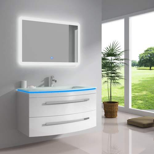 """Oimex Design Badmöbel Set """"Monica"""" Weiß Hochglanz Waschtisch 90cm inkl. LED Waschbecken, LED Beleuchtung Armatur und Spiegel Badezimmermöbel Set mit Glas Waschbecken"""