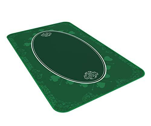 Bullets Playing Cards Universele tafelmat voor gezelschaps- en kaartspellen, groen, 100 x 60 cm, luxe speeldoek, speelkleed, tafelkleed