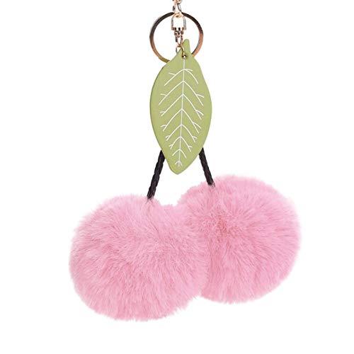 AchidistviQ N2017 Lindo llavero de cerezo bolso colgante colgante bolsa de coche titular de la llave del coche llavero para mujeres niñas bolso llavero colgante
