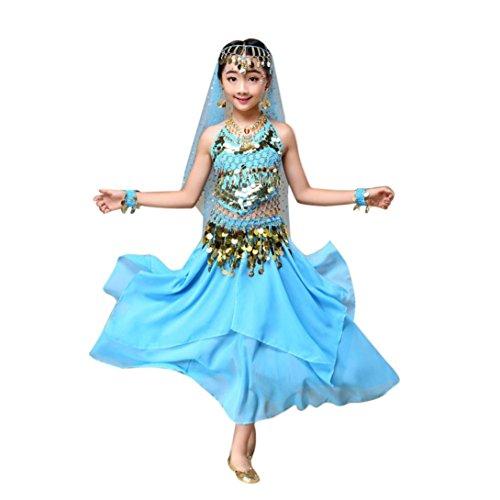 winwintom Girls Belly Dance Traje Disfraz India Top + Falda Ropa de Baile (XS, Azul)