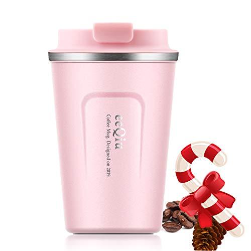 eeQiu Taza de Viaje - Taza de café aislada 13 oz, Taza de Acero Inoxidable 100% a Prueba de Fugas para café Caliente y frío, Leche y té (Rosa)