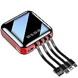 SPARKX Banque d'alimentation Portable, Chargeur 20000Mah avec 3 Et 4 Câbles De Charge Différents, avec 1 Lumière LED, Qui Peut Être Adaptée À Tous Les Téléphones Intelligents,Red b,10000 mA