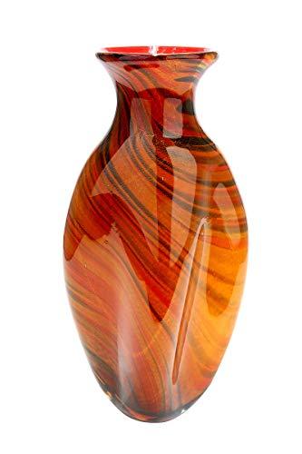 GILDE GLAS art Vase - Dekoobjekt handgefertigt aus Glas H 44 cm B 22 cm