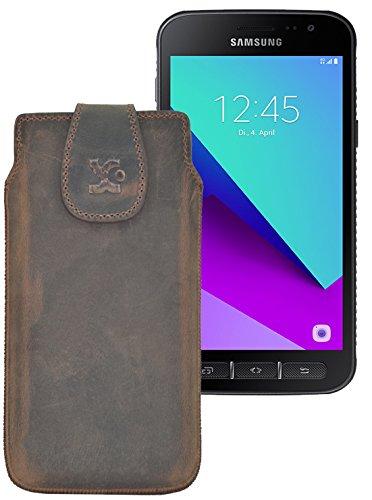 Original Suncase Tasche für Samsung Galaxy Xcover 4 (SM-G390F) / Leder Etui Handytasche Ledertasche Schutzhülle Hülle Hülle / in antik-braun