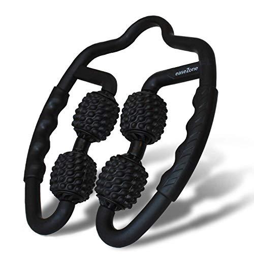 easeZone Muskel-Massageroller, Massage-Gerät & Faszienrolle mit Griff für Selbstmassage. Triggerpunkt & Faszien-Massagerolle für Beine, Nacken, Oberschenkel, Arm. Anti Cellulite Entspannung (Black)