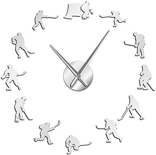 Reloj de Pared Hockey Colgante de Pared Deporte Arte de la Pared Pegatinas DIY Reloj de Pared Grande Jugadores de Hockey Decoración del hogar Reloj de Pared sin Marco Regalo para hombre-47 Pulgadas
