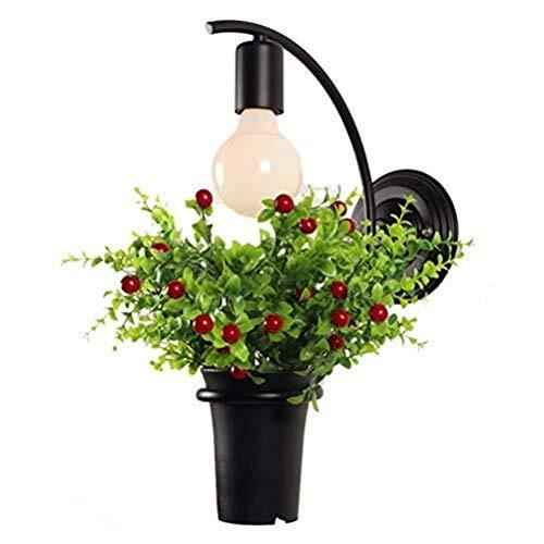 Spots muraux Appliques de salle de bain Lampe de mur Pot de fleur Creative Country Style Design Simple Matériau Métal E27 Porte-lampe avec des plantes Simulations Chambre Couloir Salon Éclairage décor