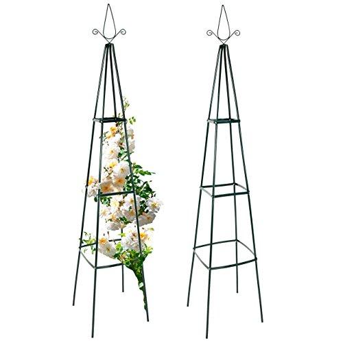 Rosenpyramide, Rankhilfe für Pflanzen, Rankgerüst, Rankturm aus Metall, 35 x 35 x 195 cm, 1/2er Set (2 Stück)