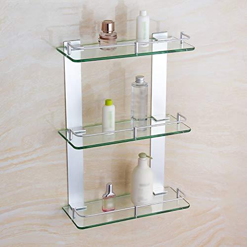 DZNOY Espacio de Estante Aluminio Triple Vidrio baño Estante Cuadrado Bastidor de Almacenamiento (Size : 600mm)