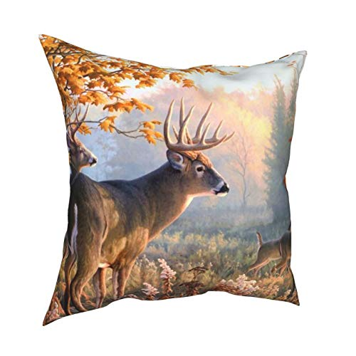 iksrgfvb Pillow Case Cushion Covers Whitetail Deer Life Square Pillowcases for Living Room Sofa 18 x 18 inch