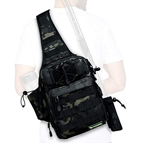 Rodeel Fishing Tackle Sling Shlouder Backpack with Fishing Rod Holder, Lure Bag, Water Resistant & Weatherproof, Large Storage, for Fly Fishing, Outdoor Sports, Camping and Hiking,Camouflage