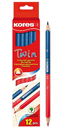 Kores Buntstift Twin Jumbo, 3-kant, 3 mm, 12 Stück, blau/rot