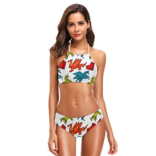 Ahomy Origami-Bikini-Set, Drache, Einhorn, Herz, zweiteilig, hoher Halter, Badeanzug, S-XXL Gr. Small, mehrfarbig
