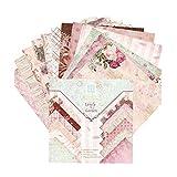 NIDONE Origami De Papel De La Vendimia De Papel del Libro De Recuerdos Floral Cartulina DIY 15 * 15cm 24pcs Papel De Tarjeta De Álbum De Recortes