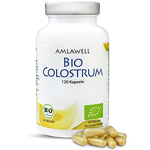AMLAWELL Bio Colostrum – 120 Kapseln (600 mg Kolostrum pro Kapsel) mit wertvollen Vitaminen, Mineralien, Aminosäuren und Immunglobulinen