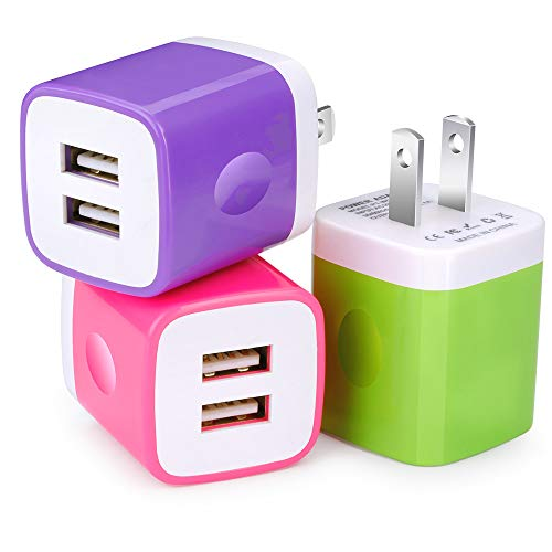 USB Charging Block, GiGreen 3 Pack Wall Adapter Cube Plug 5V 2.1A Dual Port Home Travel Power Charger Box Fast Charger Compatible All USB Devices, Phone, Tablets, Digital Cameras, Readers, Speaker