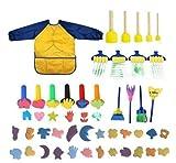 44pcs Suministros De Arte Para La Primera Infancia Set Herramientas De Pintura De Esponja Para Niños Rompecabezas Materiales De Graffiti,Yellow