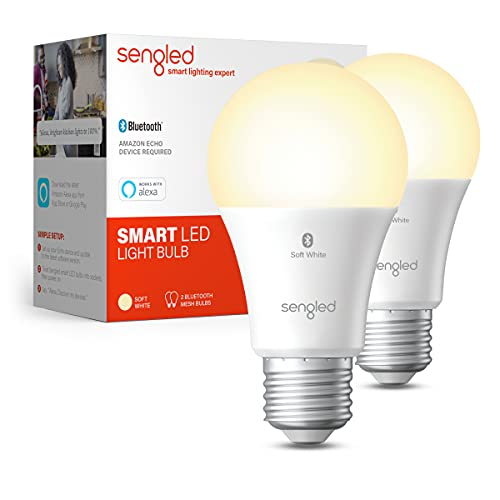 Sengled Smart Light Bulbs, Alexa Light Bulb Bluetooth Mesh, Smart Bulbs That Work with Alexa Only, A19 Dimmable LED Bulb E26, 60W Equivalent Soft White 800LM, Certified for Humans Device, 2 Pack