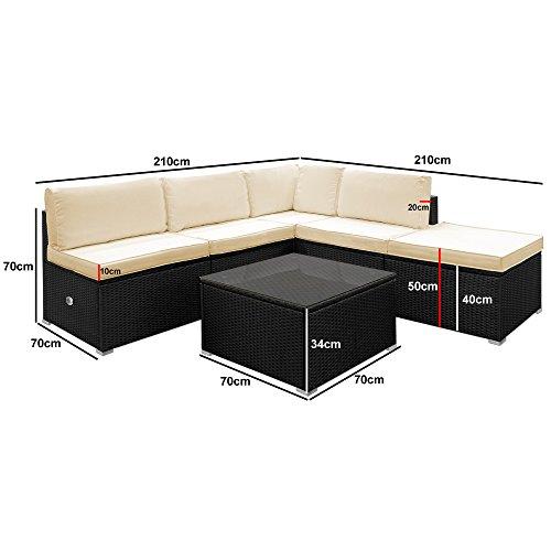 Deuba Poly Rattan Aluminium Lounge Set Schwarz Bild 6*