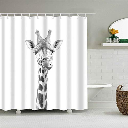 Ayniss Duschvorhänge Badvorhang Textil aus Polyester Stoff Giraffe schimmelresistent & Waschbar,für Badezimmerdekor,wasserdichter Badvorhang Beschwertem Saum
