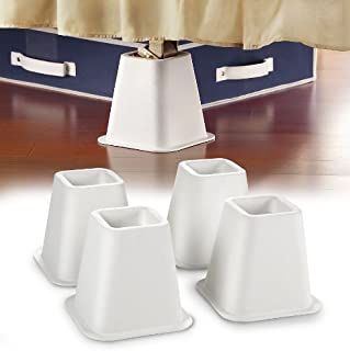 #1 Best Selling Simplify - 4-Count 6 inch Bed Riser With Wheel Caster Indent & Silicone Grip Bottom- Patented Design- Only Buy From Space With Taste! - White