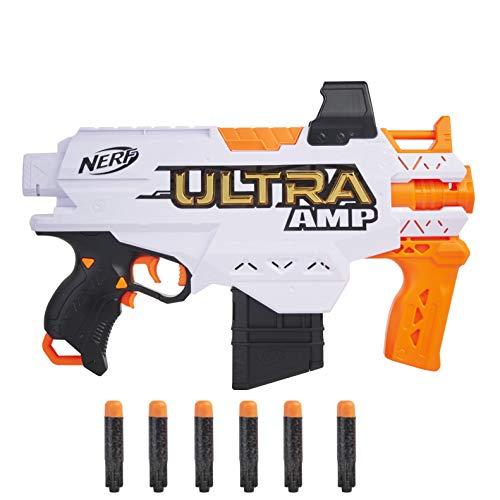 Hasbro Nerf Ultra Amp motorisierter Blaster, 6-Dart Clip-Magazin, 6 Nerf Ultra Darts, nur mit Nerf Ultra Darts kompatibel