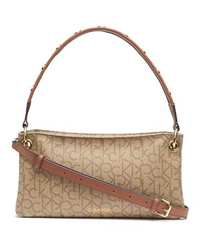 Calvin Klein Raya Signature Demi Shoulder Bag, TEXTURED KHAKI/BROWN