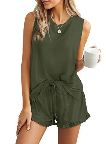 Azokoe 2021 Women Short Pajamas Set Crewneck Sleeveless Tank Tops and Ruffle Shorts Pj Set 2 Piece Outfit Sleepwear Green 2XL