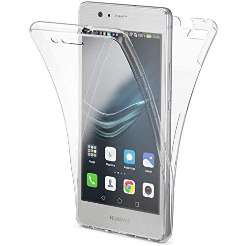 NewTop - Carcasa para Huawei P9 / P9 Lite, funda Crystal Case de TPU silicona gel PC protección 360 ° frontal retro completa