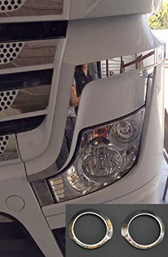 24/7Auto 4X Frontscheinwerfer Rahmen Sicke + für Lichterringe Actros MP4 LKW hochglanzpoliert Edelstahl Dekoration