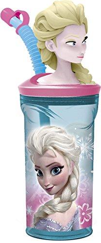 Disney 55766/DFR de 9035–Frozen 3D–Vaso con Pajita, Multicolor